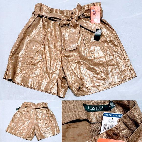Ralph Lauren Pants - 🆕Lauren Ralph Lauren Gold Belted Shorts size 12💕